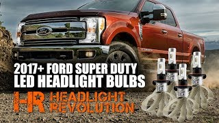 Buy Your Kit Here:https://headlightrevolution.com/2017-ford-f250-f350-super-duty-led-headlight-bulbs-upgrade-kit-4-bulbs/Most LED headlight bulbs out there have a poor beam pattern and lack the brightness you'd expect from a high-end bulb upgrade. Others don't fit inside different headlight housings very well. We made sure when developing this kit for your truck that the product we offer here is the best fitting, best functioning, and brightest LED headlight bulb upgrade available today! The Supernova V.3 LED headlight bulbs produce 2-3 times more light than the original halogen bulbs, they work with the Daytime Running Light function (DRL), they do not flicker or give you warnings on your dash, and they are easy to install!