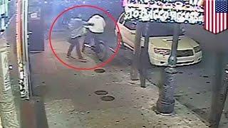 Psychopath Caught On CCTV: Woman Randomly Stabs Pedestrians On Sidewalk