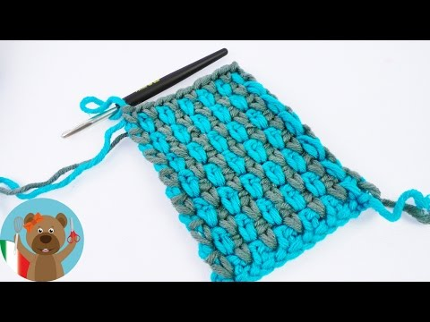 uncinetto – maglia a grano di riso in due colori