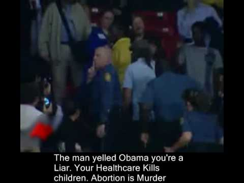 Pro Lifer attacked at Obama Healthcare TownHall