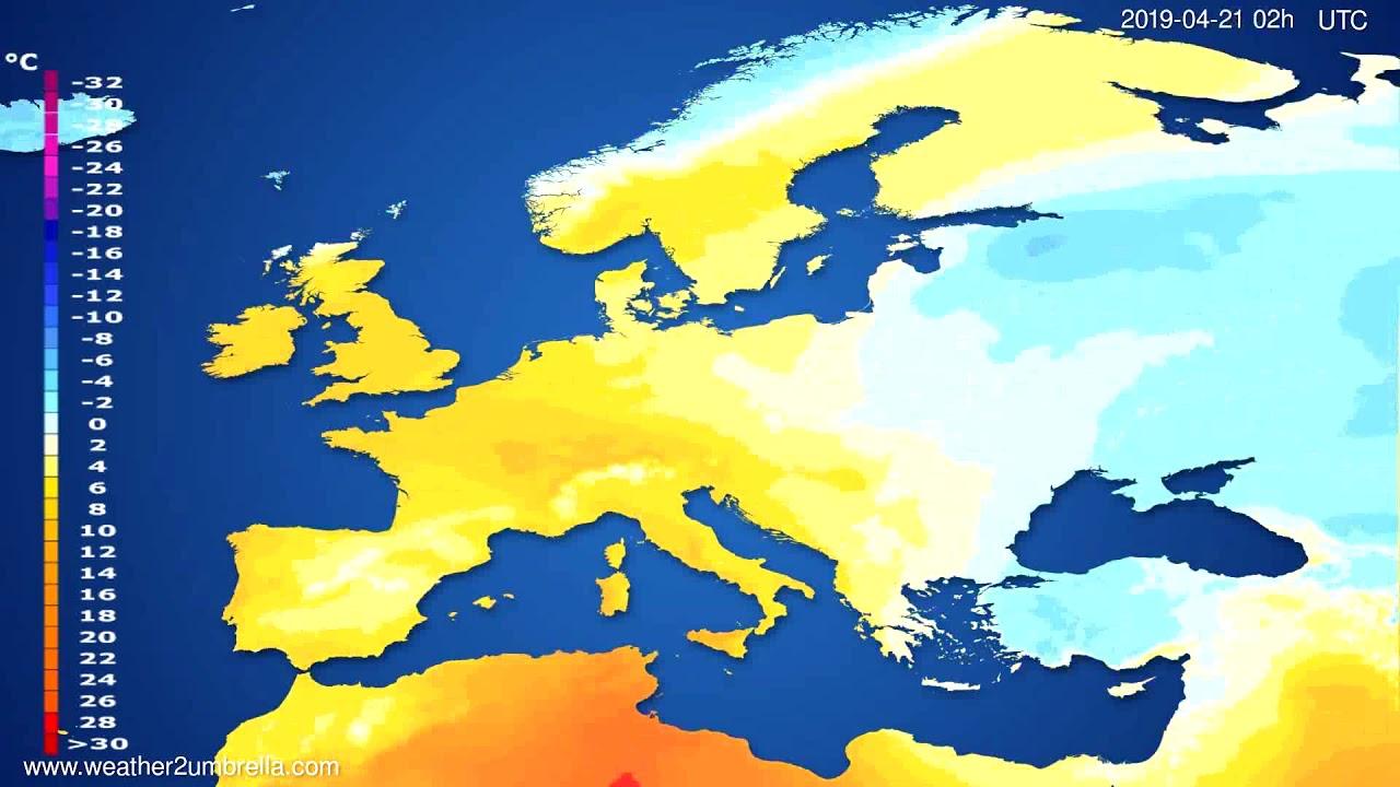 Temperature forecast Europe // modelrun: 00h UTC 2019-04-18