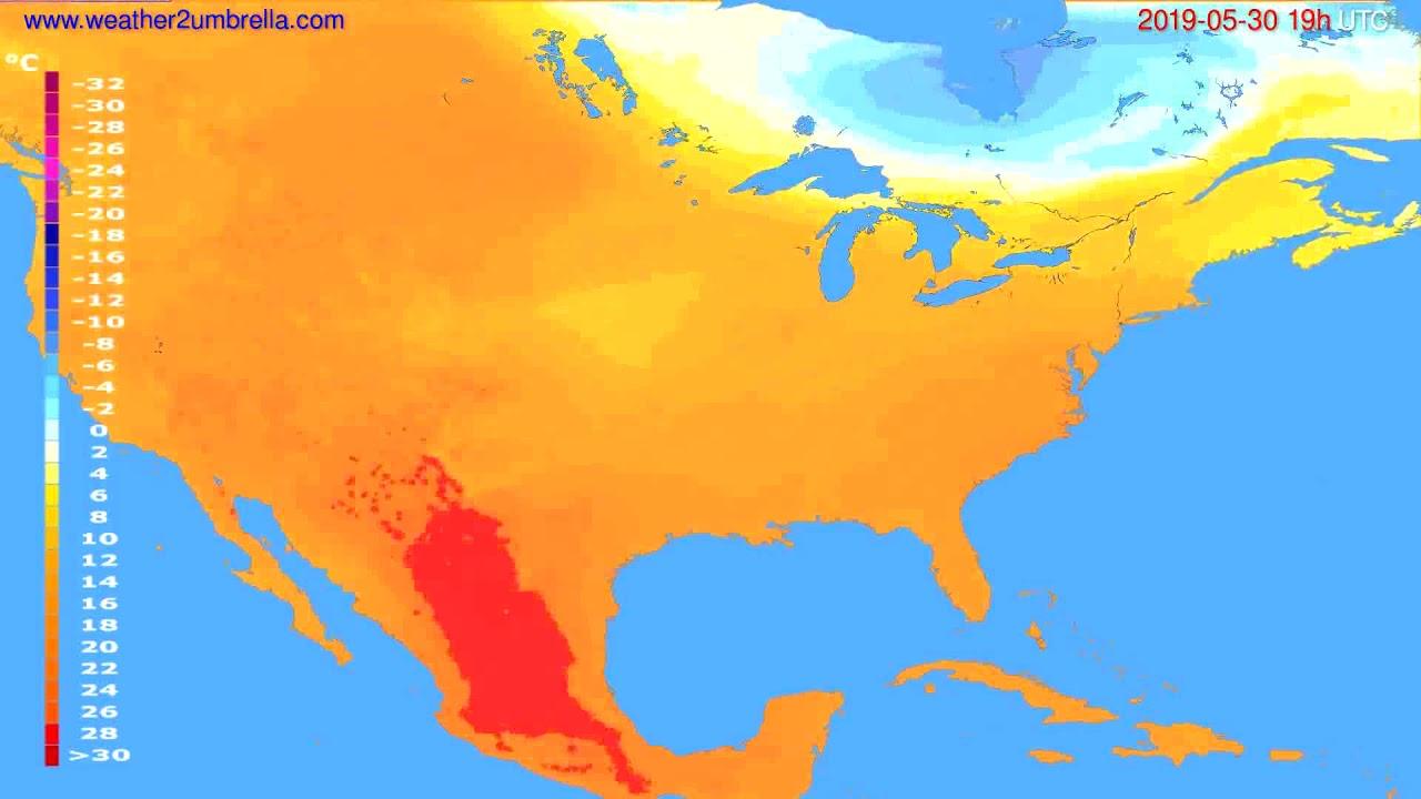 Temperature forecast USA & Canada // modelrun: 12h UTC 2019-05-27