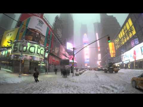 Jonas Snow Storm Blizzard 4K Tempestade de Neve New york Nova Iorque Times Square Gopro4