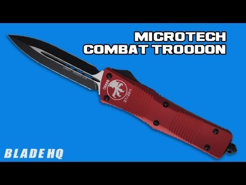 "Microtech Blue Combat Troodon Drop Point OTF Knife (3.8"" Black Serr) 143-2BL"