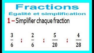 Maths 6ème - Fractions égalité et simplification Exercice 6