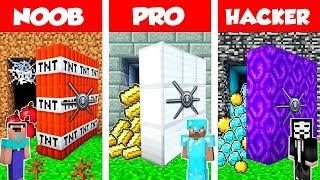 Minecraft NOOB vs PRO vs HACKER: SECRET VAULT BASE CHALLENGE in Minecraft / Animation