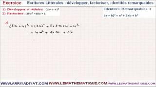 Maths 3ème - Écritures Littérales développer factoriser identités remarquables Exercice 1