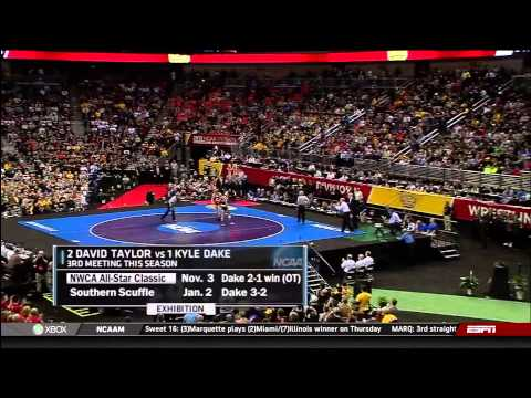 wrestling - 165 Kyle Dake (Cornell) vs. David Taylor (Penn State) Kid Dynamite def. The Magic Man 5-4 Dake becomes the first wrestler in the history of collegiate wrestl...