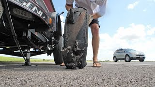Towing the bass fishing boat nightmare fail scenario, how to change a trailer tire on the highway.SUBSCRIBE - https://www.youtube.com/lakeforkguyWATCH MORE FISHING - https://www.youtube.com/playlist?list=PLF43D57E0A9B443B3GET OFFICIAL FISHING FREAK GEAR HEREhttp://bit.ly/LFGMERCHLISTEN TO THE PODCASThttp://bit.ly/HOOK-ARROWINSTAGRAM https://www.instagram.com/lakeforkguySNAPCHAT - LakeForkGuyFACEBOOK https://www.facebook.com/lakeforkguyMail me stuff that won't kill me : )Justin RackleyPO Box 280Wellborn, TX 77881ABOUT LFGJustin Rackley, known as Lakeforkguy in the fishing world, creates fishing and outdoor videos on youtube and other social platforms.  LFG provides fishing tips and techniques for mostly largemouth bass fisheries but also travels to other freshwater and saltwater fishing spots to explore new fish species and fishing techniques to show as many fishing places as possible and help you catch more fish.  Lakeforkguy likes to hang out on any fishing vessel or go bank fishing with his other YouTube Fishing friends and vlog with his Wife Stephanie and french bulldog Winston.---------------------------------------------------GEAR----------------------------------------------------CAMERASDSLR Camera (Panasonic GH5) - http://amzn.to/2a6frQEStatic Shot (Gopro Hero 4 Black) - http://amzn.to/2aiE4wQMetabones Speedbooster 4/3 EF Mount - http://amzn.to/2aoWey0CASESWaterproof Travel Case For My DSLR and Lenseshttp://amzn.to/2kLIOjiMetal Gopro Case with Filtershttp://bit.ly/GoProMetalCaseCheap GoPro Travel Casehttp://amzn.to/2kk30ugLENSESCanon 24-105mm L Lens - http://amzn.to/2a6fNqxRokinon 14mm WIDE - http://amzn.to/2aJRmkSAUDIOSony UWPD11/42 Lavalier Microphone - http://amzn.to/2afp1jHGopro Chesty Lav Mic (Cheap) - http://amzn.to/2azAMo1DSLR Shot Gun Mic - http://amzn.to/2anoJh9