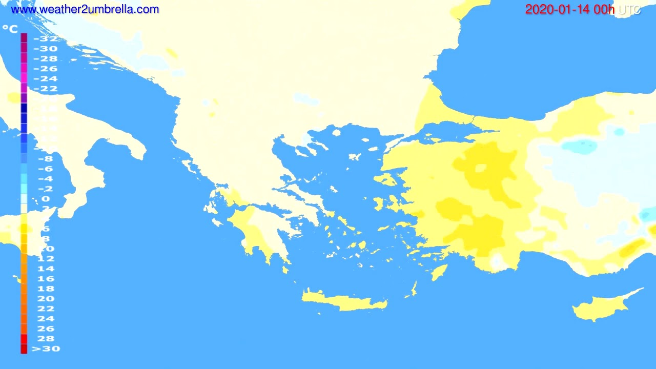 Temperature forecast Greece // modelrun: 00h UTC 2020-01-13