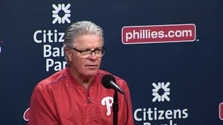 Pete Mackanin discusses the Phillies' pitching struggles as well as the Astros' depth in their 13-4 loss to HoustonCheck out http://MLB.com/video for more!About MLB.com: Former Commissioner Allan H. (Bud) Selig announced on January 19, 2000, that the 30 Major League Club owners voted unanimously to centralize all of Baseball's Internet operations into an independent technology company. Major League Baseball Advanced Media (MLBAM) was formed and charged with developing, building and managing the most comprehensive baseball experience available on the Internet. In August 2002, MLB.com streamed the first-ever live full length MLB game over the Internet when the Texas Rangers and New York Yankees faced off at Yankee Stadium. Since that time, millions of baseball fans around the world have subscribed to MLB.TV, the live video streaming product that airs every game in HD to nearly 400 different devices. MLB.com also provides an array of mobile apps for fans to choose from, including At Bat, the highest-grossing iOS sports app of all-time. MLB.com also provides fans with a stable of Club beat reporters and award-winning national columnists, the largest contingent of baseball reporters under one roof, that deliver over 100 original articles every day. MLB.com also offers extensive historical information and footage, online ticket sales, official baseball merchandise, authenticated memorabilia and collectibles and fantasy games.Major League Baseball consists of 30 teams split between the American and National Leagues. The American League consists of the following teams: Baltimore Orioles; Boston Red Sox; Chicago White Sox; Cleveland Indians; Detroit Tigers; Houston Astros; Kansas City Royals; Los Angeles Angels ; Minnesota Twins; New York Yankees; Oakland Athletics; Seattle Mariners; Tampa Bay Rays; Texas Rangers; and Toronto Blue Jays. The National League, originally founded in 1876, consists of the following teams: Arizona Diamondbacks; Atlanta Braves; Chicago Cubs; Cincin