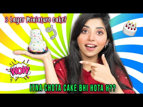Making MINIATURE 3 layer CAKE at Home!! *I didn't expect this*