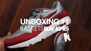 Video Sneakers unboxing #1 by Baskets Blanches - Air Max 1 Ultra Moire Cool grey/Gym Red MP3, 3GP, MP4, WEBM, AVI, FLV Juni 2017