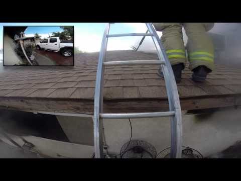 Intense first-person view of firefighter in action
