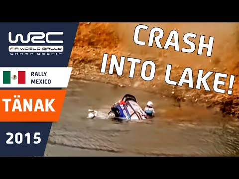 Vídeo salida de pista y hundimiento del vehículo en un lago Ford Fiesta Ott Tänak WRC Rallye México 2015