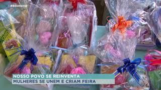 Mulheres vendem artesanato e alimentos em feira de Marília