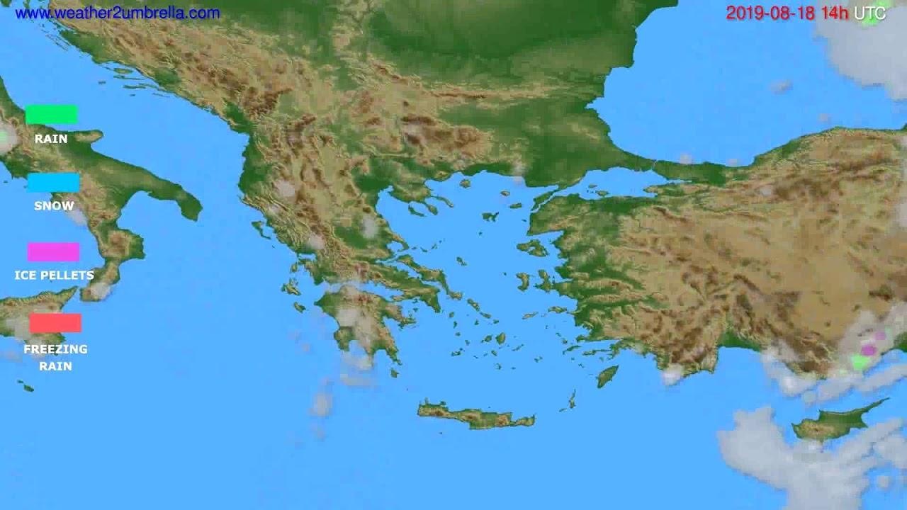 Precipitation forecast Greece // modelrun: 00h UTC 2019-08-16