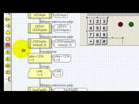 Flowcode v4 - PIC 16F877A mikrodenetleyicisi için FLOWCODE v4 programı kullanılarak 1 Adet 2x16 LCD, 1 adet Tuş Takımı, 2 adet LED kullanarak Şifreli Kapı Kilidi yapılmıştır.