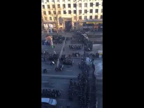 Начало зачистки Майдана 18.02.2014 (видео)