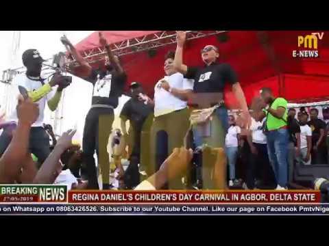 Patoranky & Regina Daniel on stage @ the Children's Day Carnival in Agbor.