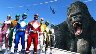 POWER RANGERS VS KING KONG - GTA 5 KONG SKULL ISLAND MOD !!!
