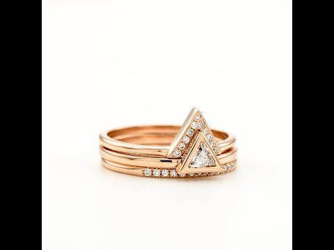 Triangle Diamond Engagement 3 Ring set Unique Trillion Diamond Ring Wedding Set Bridal Rose Gold