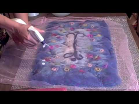 Wet felting 5 - wetting the wool