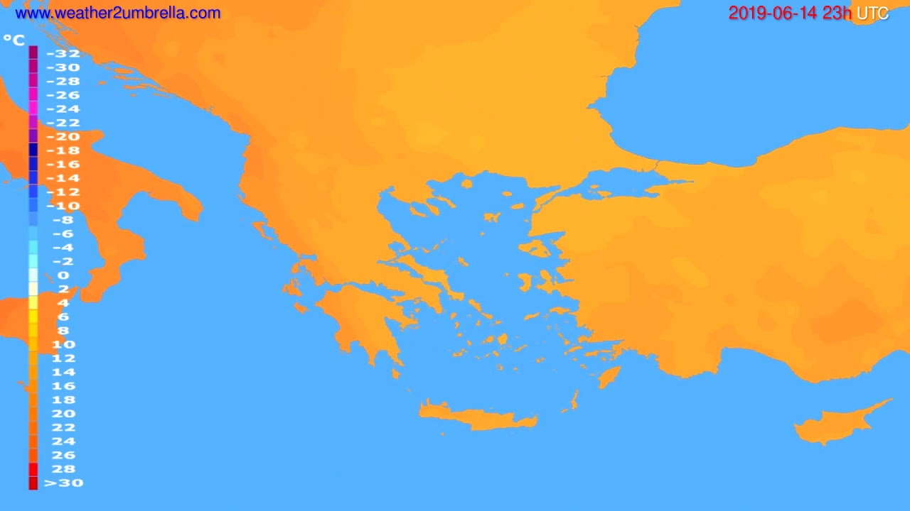 Temperature forecast Greece // modelrun: 12h UTC 2019-06-11
