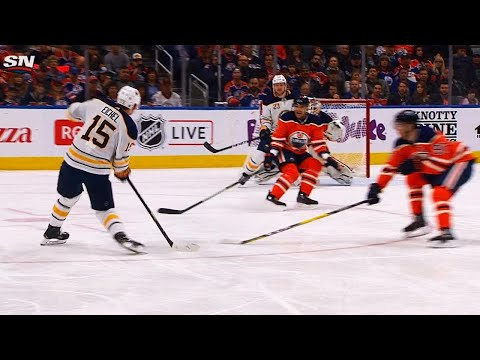 Video: Jack Eichel changes angle, fires laser past screened Cam Talbot