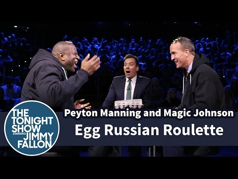 Peyton Manning and Magic Johnson play a game of egg Russian roulette.