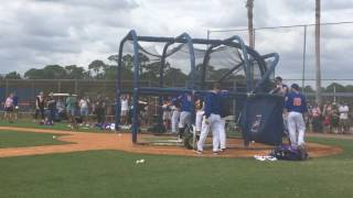 LF Yoenis Cespedes takes batting practice and stands in against LHP Josh Edgin