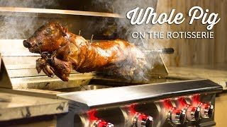 In this recipe video, we roast a whole suckling pig on the rotisserie of the Blaze Professional Gas Grill!  We were inspired by the Louisiana tradition of roasting a Cochon De Lait & wanted to figure out a way to adapt it to something you can do in your outdoor kitchen.  Shop Blaze Here:https://www.bbqguys.com/blaze-outdoor-products/professional-44-inch-built-in-natural-gas-grill-with-rear-infrared-burner-blz-4pro-ngWhole Pig:  approx. 21 Lbs.  Brine: Ice Water                                  17 quarts Kosher Salt                               5 ½ cupsGranulated Sugar                      2 cupsFresh Rosemary                       17 sprigsFresh Thyme                             6 sprigsFresh Sage                               15 leavesDiced Garlic                              17 clovesRed Pepper Flakes                    2.5 Tsp.Lemon Slices                             4 lemonsOrange Slices                            1 orangeGinger Root Slices                     5 in.Bay Leaves                                  4 ea.Black Peppercorns                     34 Dry rub:Kosher Salt                             to tasteCreole Seasoning Blend        enough to coat Creole seasoning blend: (Makes about 1 1/2 cups)1/4 cup roasted garlic powder2 T. onion powder1/4 cup dry basil2 T. dry thyme1 T. cayenne pepper3 T. paprika2 T. dry rubbed sage1 T. dry lemon peelDrip Pan:Beef Broth                                32oz.Red Wine                                  1 bottleRosemary                                 4 sprigsFresh Sage                                2 sprigsRendered Bacon Fat                 ¼ cupKosher Salt                                to tasteBlack Pepper                             to tasteCarrots                            4 ea.Sweet Potatoes             3 ea.Red Potatoes                 8 ea.Bell Peppers                  3 ea.Celery                             6 stalksYellow Onion                3 ea. For Basting:Rendered Bacon Fat     3/4 cup • In a pot over medium 