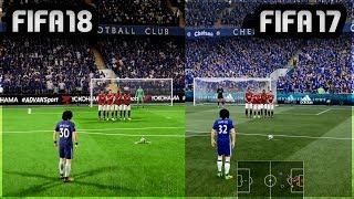 FIFA 18 vs FIFA 17 Gameplay Comparison (Penalties, Free Kicks)