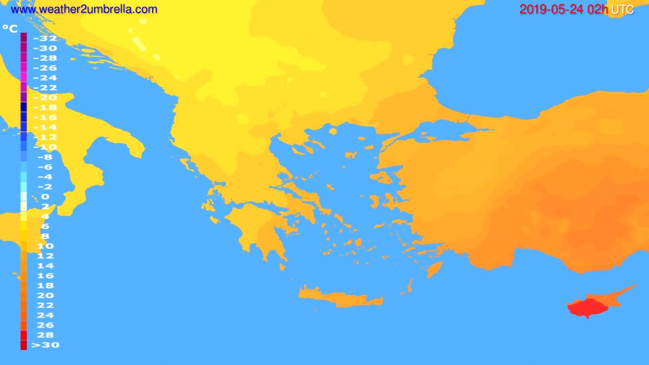 Temperature forecast Greece // modelrun: 00h UTC 2019-05-22