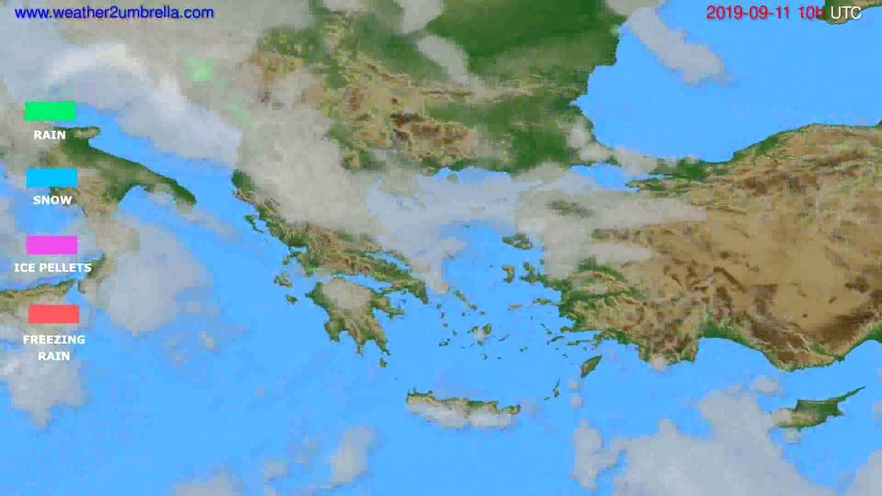 Precipitation forecast Greece // modelrun: 12h UTC 2019-09-08