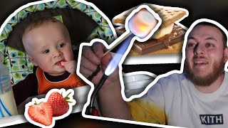 Trying Strawberries for the first time! and Smores with NO Campfire! by The Baked Clam