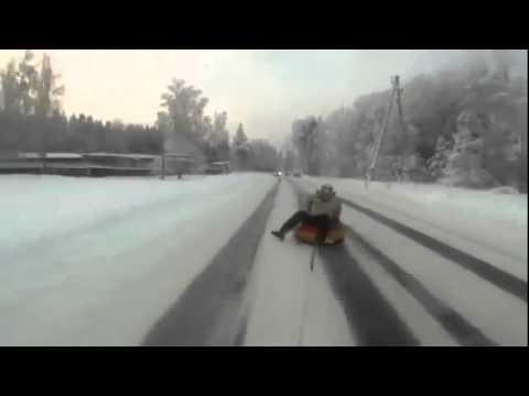Опасные зимние покатушки.флв