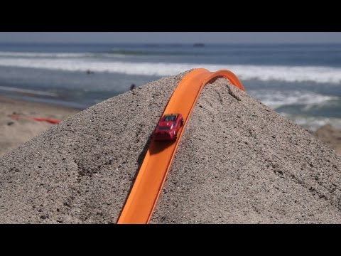 POV Footage of Cars Racing to the Finish on a Large Hot Wheels Track Built on a