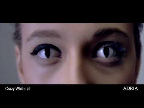 Crazy White cat - цветные линзы Adria, видео в линзах