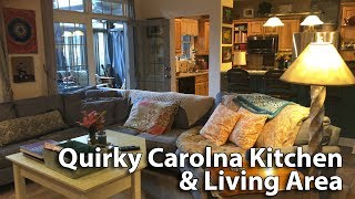 Just a brief look at our kitchen and living area in our house on Mineral Springs Mountain in western NC. Nikki and I love comfortable couches, lots of pillows, soft lighting, original art and photography. This is just a quick peak behind the scenes at our quirky Carolina interior.