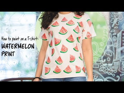 How To Paint On a T shirt  Watermelon Print DIY