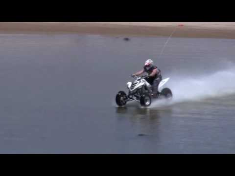 quad - Hydroplaning ATV. May 30, 2010. Yamaha Raptor 700 Quad water skipping/ hydroplaning over a lake that is approximately 5-7 feet deep in the Oregon Dunes at Ha...