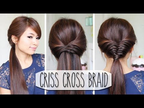 Criss Cross Braid Hair Tutorial (French Fishtail Cheat) Easy Hairstyles