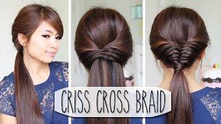 Criss Cross Braid Hair Tutorial (French Fishtail Cheat) - YouTube
