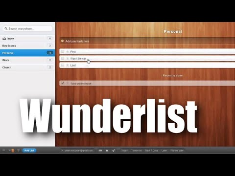 Wunderlist - Wunderlist is a great app that's free and based on GTD. I wanted to show you here how to use the core functionality to really get things done. I'll show you ...
