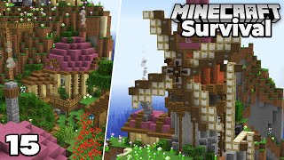 Let's Play Minecraft Survival : Windmill and Finishing the New Village Base! Episode 15