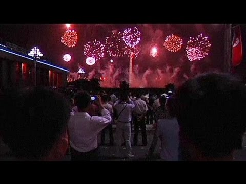 celebrates - North Korea put on a large fireworks display to celebrate the 61st anniversary of the armistice that ended the Korean War. Video footage provided by the North's state news agency KCNA, showed...