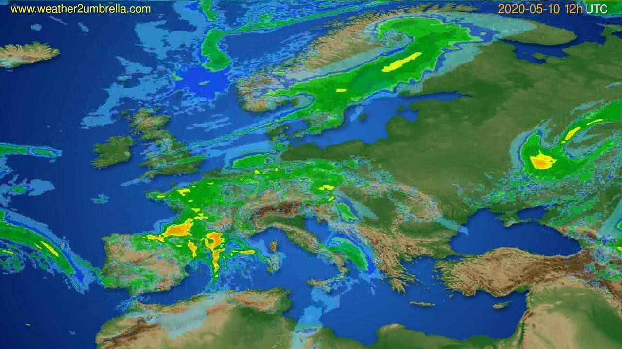 Radar forecast Europe // modelrun: 00h UTC 2020-05-10
