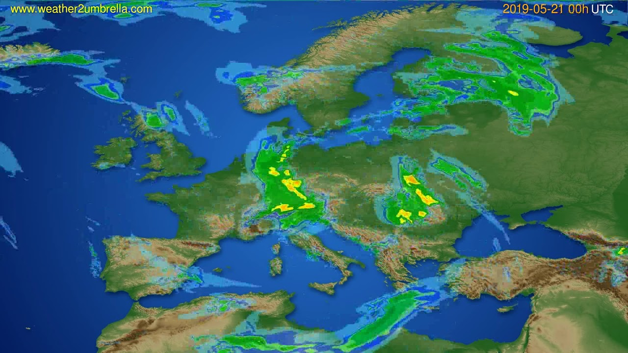Radar forecast Europe // modelrun: 12h UTC 2019-05-20