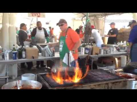 Pyro Chef Rich Janisch cooks calamari at the 2014 Gilroy Garlic Festival. #gilroygarlic